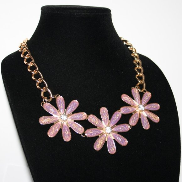 Gold and purple flower bib statement necklace adju